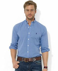Polo Ralph Lauren Shirt, Classic-Fit Long-Sleeve Plaid Cotton Poplin Shirt -