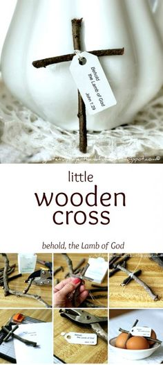 """Make a humble little wooden cross from sticks gathered from your yard. Attach a tag with the bible verse from Luke 2:11, """"a Savior has been born to you"""", as you celebrate Easter and Christmas. It is a sweet and easy holiday craft to make for kids."""