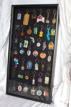 """Key Chain Shadow Boxes""---A Great way to display those summertime / roadtrip souvenir's. Souvenir Display, Souvenir Ideas, Spoon Collection, Diy Shadow Box, Travel Souvenirs, Travel Memories, Vacation Memories, Displaying Collections, Decoration"