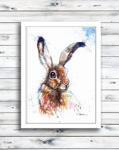 Excited to share the latest addition to my #etsy shop: Hare ,Original Watercolour Painting Print ,Card, Framed by Artist Be Coventry Wildlife Animal Art, UK Free Postage https://etsy.me/2qyiw6E #art #painting #bronze #housewarming #thanksgiving #brown #watercolour #
