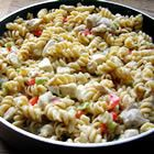 Chicken Rotini Stovetop Casserole. I used bowtie pasta in place of the rotini, didn't put in any chicken, added mushrooms, carrotts, broccoli, zucchini and spinach - turned out fantastic. My husband said this is one of his favorite new meals:)