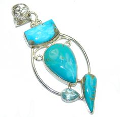 $60.25 AAA+Sleeping+Beauty+Blue+Turquoise++Sterling+Silver+Pendant at www.SilverRushStyle.com #pendant #handmade #jewelry #silver #turquoise