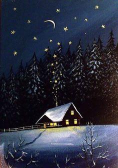 Christmas Scenes, Christmas Art, Christmas Canvas, Watercolor Landscape, Landscape Paintings, Arte Alien, Winter Szenen, Mini Canvas Art, Cottage Art