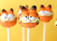 oh my stars....Garfield cake pops from the queen of cute, Bakerella.