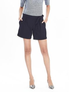 Pleated Lace-Trim Shorts Product Image