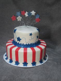 4th of July patriotic themed birthday cake