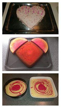 Hjertekage til pigefødselsdag  Girlish heart cake for birthdayparty