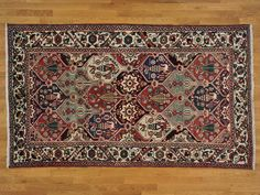 5.5' x 9.5' Old Persian Bakhtiari Full Pile 100% Wool Hand Knotted Rug -