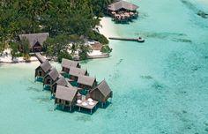An aerial view of Constance Moofushi, Maldives