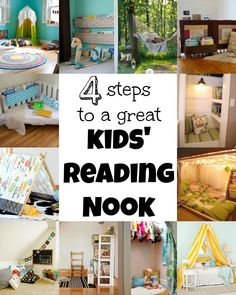 4 Steps To A Great Kids Reading Nook via Tipsaholic.com #Nooks #kids #reading #books