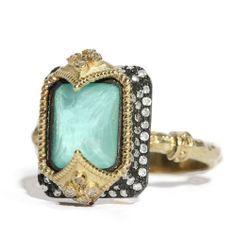#Armenta Old World #SterlingSilver 18K Yellow #Gold #Green #Turquoise & #Diamond #Ring
