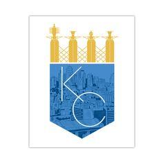 """Kansas City Royalty"" - x Print — Bozz Prints Kansas City Skyline, Kansas City Royals, Trucker Tattoo, Beav, Royal Art, Screen Print Poster, Mc Escher, Graphic Design Typography, Fabric Painting"