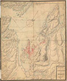 Årstall: 1750 Bergens by nr 6: Situation af Staden og Egnen om Bergen udi Norge: Hordaland  Kartserie: Amtskartsamling Område:Hordaland