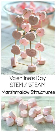 Valentine's Day STEM / STEAM Activity: Explore engineering and physics with heart shaped marshmallows and toothpicks. Kids will love building all kinds of shapes and structures- perfect for a Valentine's Day party! ~ http://buggyandbuddy.com