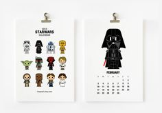 Cute Star wars 2013 Calendar. $15.00, via Etsy.