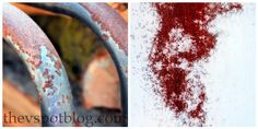 Create a faux-rust effect using spray paint and salt.  http://www.thevspotblog.com/2012/02/create-faux-rust-effect-using-spray.html