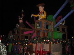 Woody and Bullseye in the Christmas parade at Mickey's Very Merry Christmas Party. TIP: Yes, viewing the parade on Main Street USA is magical, but to get a good seat, you have to park it about 2 hours before the parade starts. We always view from where the parade starts- between Frontierland and Adventureland. You'll see where they rope off. Watch from there, and head to ride 'Pirates of the Caribbean' with no wait once the parade ends! :)