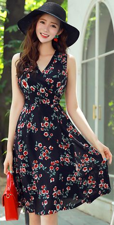 StyleOnme_Floral Print Wrap Style Sleeveless Flared Dress Source by styleonmekr Dresses Simple Dresses, Pretty Dresses, Beautiful Dresses, Casual Dresses, Fashion Dresses, Floral Dresses, Dresses Dresses, Dress Outfits, Women's Fashion
