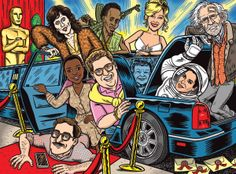 Ward Sutton Illustration for Entertainment Weekly: The Oscar Best Picture Nominees 2014.