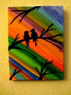 Oil Pastel Paintings, Oil Pastel Art, Indian Art Paintings, Canvas Painting Tutorials, Diy Canvas Art, Acrylic Painting Canvas, Unique Drawings, Art Drawings For Kids, Love Birds Painting