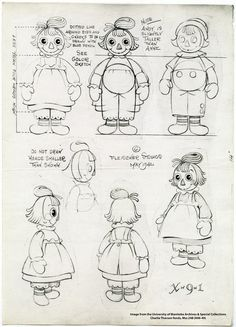 """""""Original sketches of Raggedy Ann & Andy from Charlie Thorson Character Model Sheet, Paper Dolls Printable, Raggedy Ann And Andy, Fabric Dolls, Rag Dolls, Character Design Animation, Book Projects, Princesas Disney, Doll Face"""