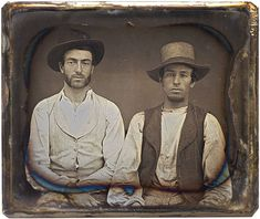 6th plate daguerreotype, 1850s, two men wearing the rustic garb or rural laborers.  Housed in half case.