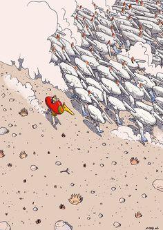 Moebius se autorretrata en este dibujo de Inside Moebius, volumen 6, a los mandos de un pato mecánico.