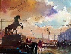 Картина Аничков мост , вечер Санкт-Петербург, автор Бэгги Боем. Артклуб Gallerix