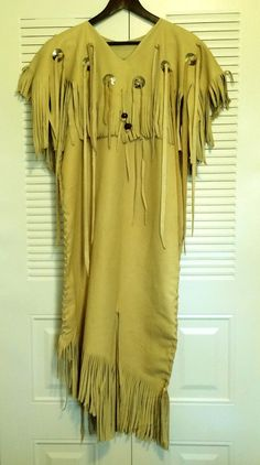 Three HIde Leather Dress Native American Style by SpottedEagleArt