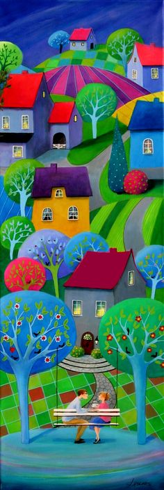 "Iwona Lifsches: ""Coffee With Love (2)"". Painting from serie ""Frederik's Daily Issues"" Acrylic on canvas, 40x120 cm."