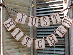 Just Hitched Burlap Wedding Banner Rustic Reception Fall Country Western