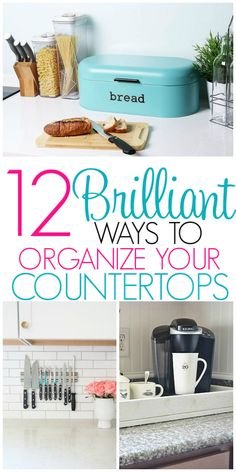 Organize Kitchen Countertops with these 12 ideas on how to eliminate cutter on kitchen counter tops and keep them organized! These kitchen organizing ideas will keep your kitchen countertop organized all the time! Organizing Hacks, Clutter Organization, Organization Ideas, Organising, Storage Ideas, Kitchen Countertop Organization, Kitchen Countertops, Decorating Kitchen Counters, Kitchen Cabinets