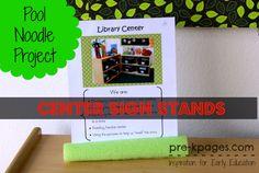 DIY Pool Noodle Center Sign Stand for preschool, pre-k and kindergarten
