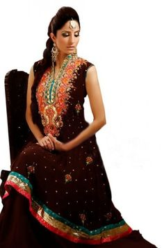 Dark Maroon Embroidered A-Line Party Suit for Girls