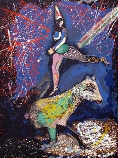 Prints by Marc Chagall Circus | 20th C Surrealist Circus Clown Marc Chagall Lithograph