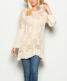 Another great find on #zulily! Natural Sheer Crochet Scoop Neck Tunic #zulilyfinds