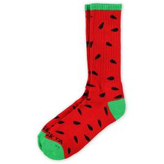 Odd Future OFWGKTA Watermelon Crew Socks ($15) ❤ liked on Polyvore featuring intimates, hosiery, socks, shoes, accessories, socks and tights, odd future socks, crew length socks, odd future and crew cut socks