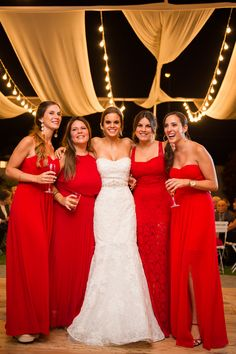 Check out these ladies in red! An elegant rustic wedding with touches of vintage detail. Red Bridesmaids, Red Bridesmaid Dresses, Wedding Dresses, Wedding Styles, Wedding Ideas, Bridesmaid Hairstyles, Red Gowns, Lady In Red, Real Weddings