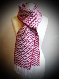 Handwoven hot red scarf chevron woven scarf chunky by Delekselja