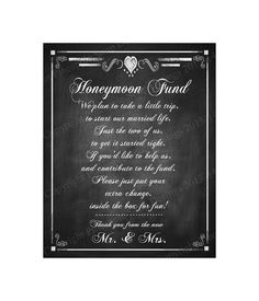Honeymoon Fund Printable Sign  DIY Instant by PSPrintables on Etsy, $3.00