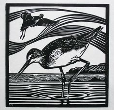 Items similar to A limited edition linocut print titled 'Greenshanks' showing the shorebird on the coast wading for food on Etsy Shorebirds, Linocut Prints, Wood Blocks, Printmaking, Coast, Carving, Silhouette, Block Prints, Armoire