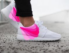 Nike Roshe Run White with Custom Pink FADE Swoosh Paint