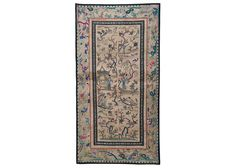 14 x 26 in ( 34.5 x 66.2 cm ) Antique Chinese Silk Hand Embroidery Tapestry