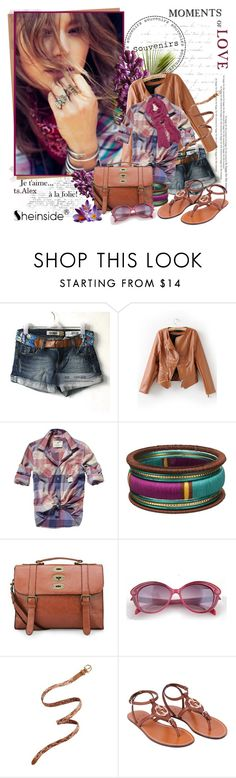 """""""Nothing else matters"""" by ts-alex ❤ liked on Polyvore featuring The 2 Bandits, Scotch & Soda, The Cambridge Satchel Company, Spun, Madewell, Gucci, denim shorts, studded handbags, flat sandals and buffalo plaid shirts"""