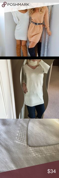 🌿Cream Colored Cutout Turtleneck Tunic Sweater🌿 Super cute and sexy cream colored turtleneck tunic sweater! Can be worn as a dress too but would definitely be a mini dress! Cute with boots and a belt❤️Cut out detail, acrylic/cotton blend, chunky turtleneck. Super cute for winter!  Brand new from manufacturer. 😘🎄🎁 Boutique Sweaters