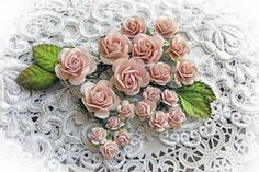 New Item Listing~ Reneabouquets Flower Set - Dusty Pink Mulberry Paper Flowers Mini Roses & Leaves Set - Set Of 24 Pieces In Organza Bag