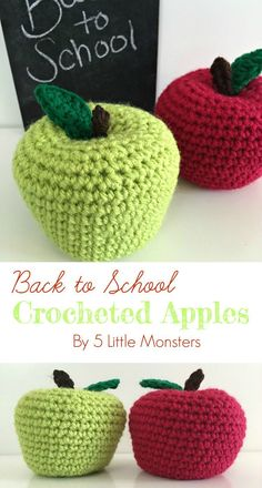 Cute Crochet Patterns 5 Little Monsters: Back to School Crocheted Apples - Free pattern for back to school crocheted apples. These amigurumi apples would be great as part of a teacher gift or as an addition to your child's play food collection. Crochet Apple, Crochet Fruit, Crochet Fall, Cute Crochet, Crochet For Kids, Crochet Flowers, Crochet Toys, Crochet Teacher Gifts, Play Food