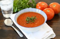 Roasted Tomato Basil Soup Recipe on twopeasandtheirpod.com The BEST tomato soup and it's easy too!