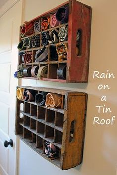 Men's tie storage in coke crates by Rain on a Tin Roof, featured on I Love That Junk - this is so cool! Scarf storage, maybe? Tie Storage, Scarf Storage, Clothes Storage, Crate Storage, Storage For Scarves, Sock Storage, Crate Shelves, Room Shelves, Scarf Organization