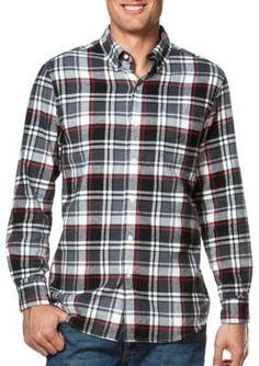 Chaps Combat Gray Plaid Flannel Shirt
